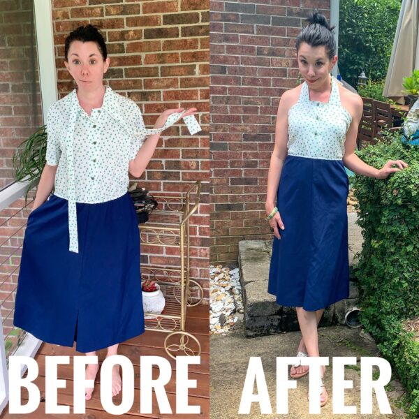 Refashionista DIY Halter Dress Refashion before and after