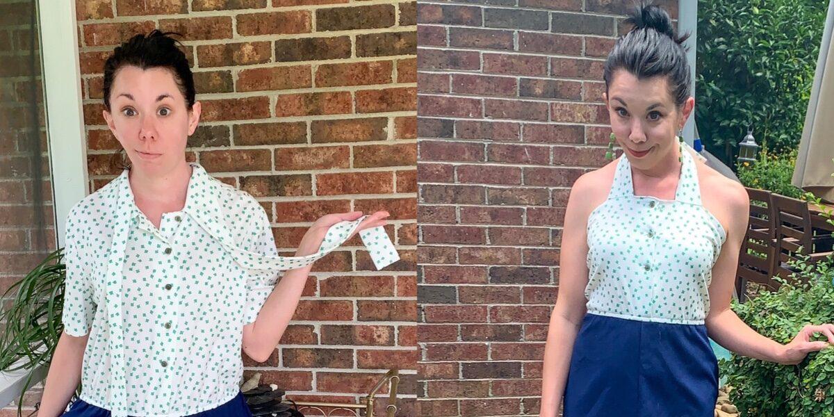 Refashionista DIY Halter Dress Refashion