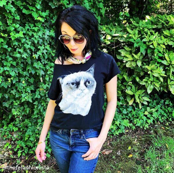 Jillian in Grumpy Cat Shirt Close Up