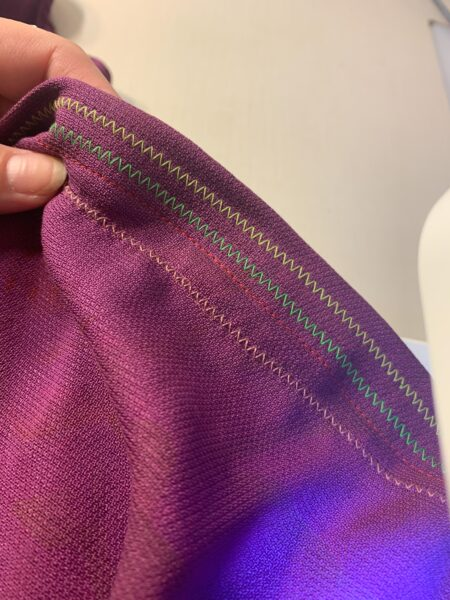 Sewing a zigzag on the hem