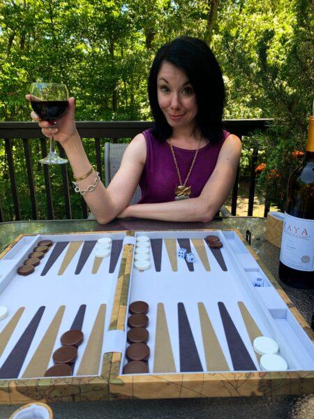 jillian in front of backgammon board