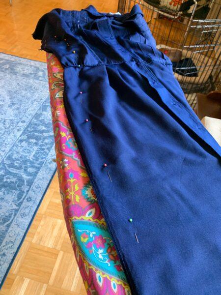 Pinning side seam of dress