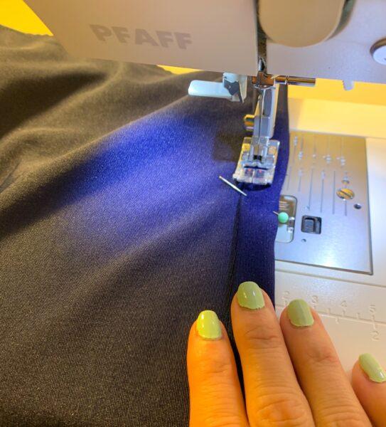 stitching down bottom hem