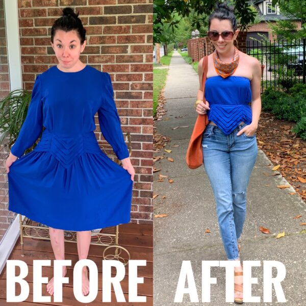 Dress to Strapless Top DIY Refashion Before and After
