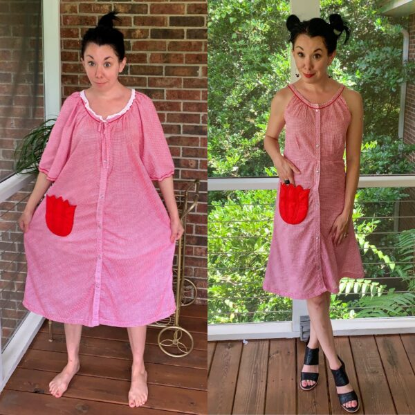 Gingham House Dress to Fit & Flare Sundress Refashion 5