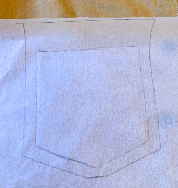 pocket pattern with added seam allowances
