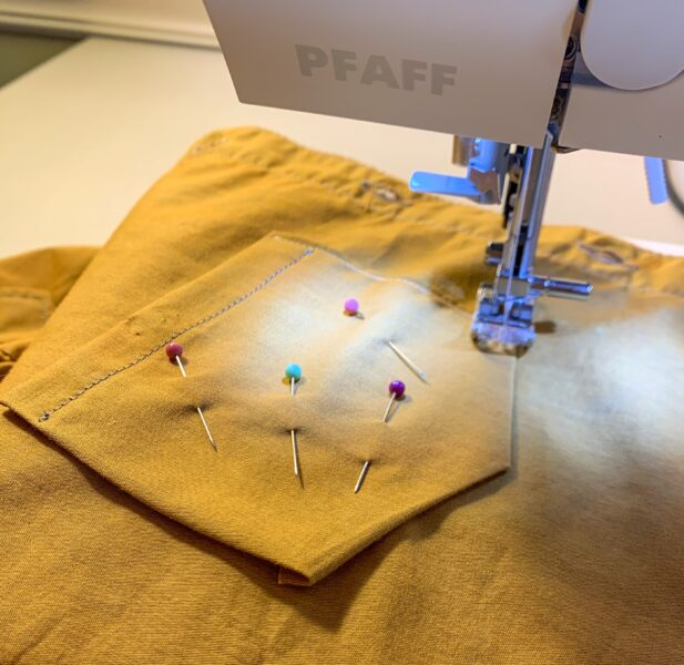 stitching down pocket