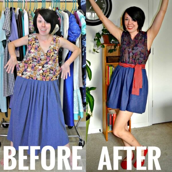 A Patriotic Pinup Dress Refashion Before and After