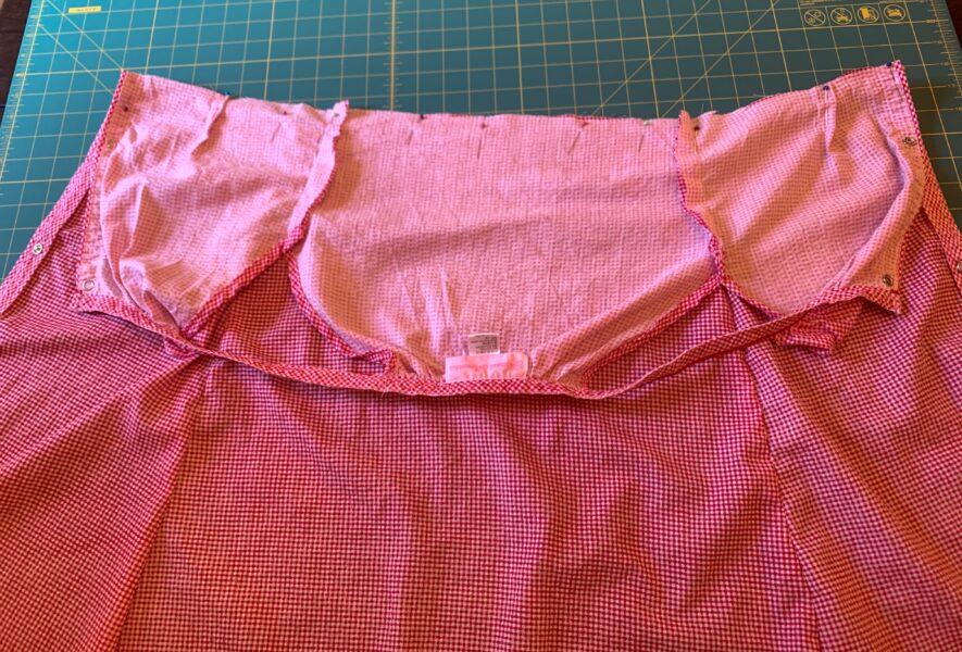 pinning bodice to skirt