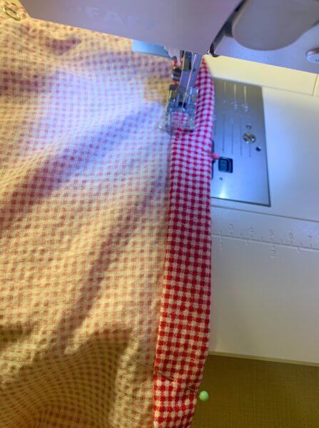 stitching down hem