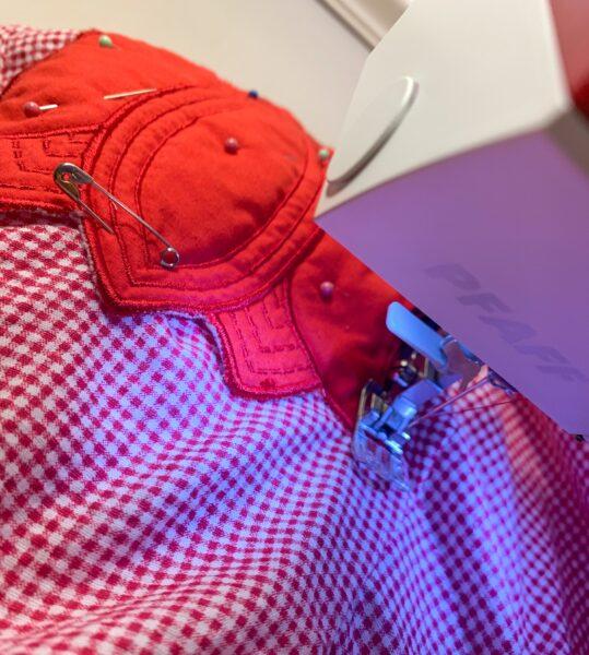 stitching pocket onto dress