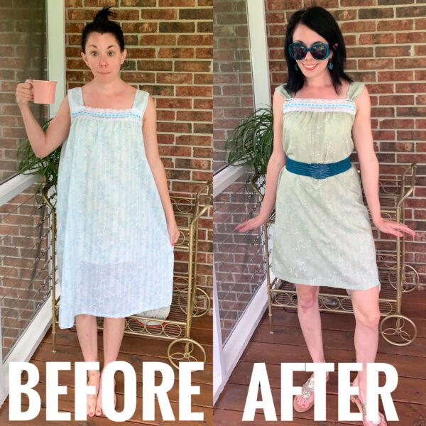 Refashionista Vintage Nightgown Refashion Before and After