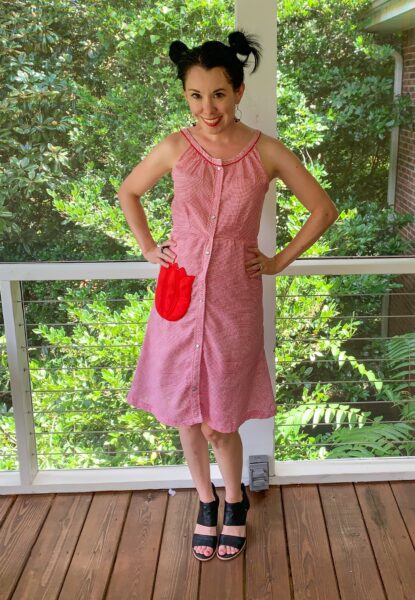 Refashionista Gingham House Dress to Fit & Flare Sundress Refashion After 2