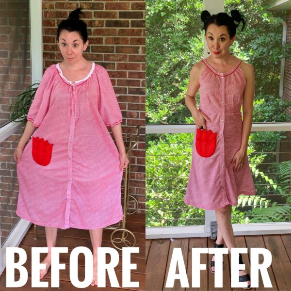Refashionista Gingham House Dress to Fit & Flare Sundress Refashion Before and After