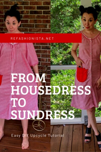 Gingham House Dress to Fit & Flare Sundress Refashion 1