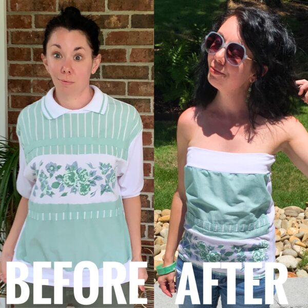refashionista DIY Tube Top from Old Lady Top Before and After