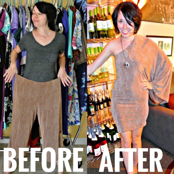 Refashionista Gauchos to Dress Refashion Before and After
