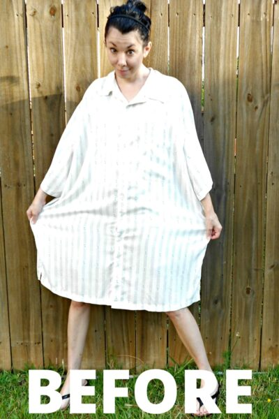 Day 360: Men's Button Up Shirt to Dress Refashion 6