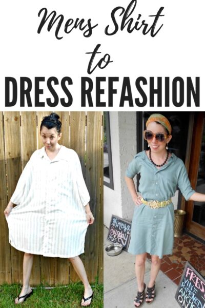 Day 360: Men's Button Up Shirt to Dress Refashion 5