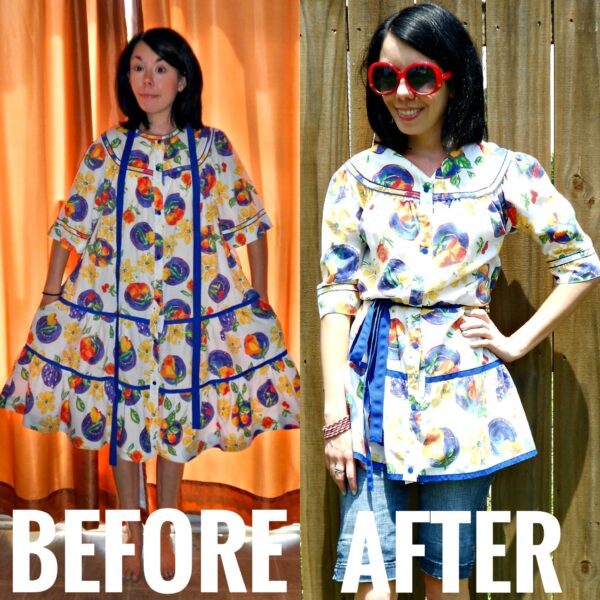 House Dress to Top Refashion before and after