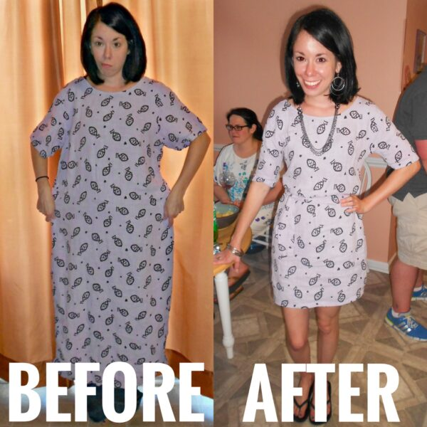 Refashionista How to take in and shorten a dress before and after