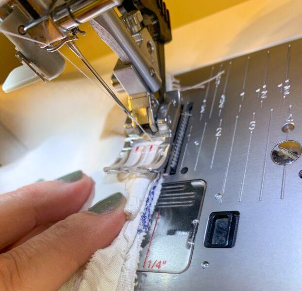 sewing shoulder seams on sewing machine