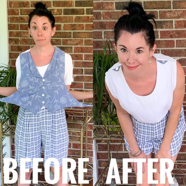'80s Vested Romper Refashion before and after