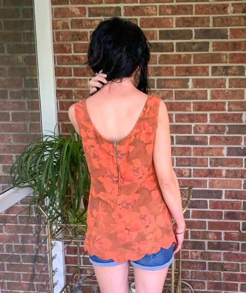 Diy scalloped hem top from back