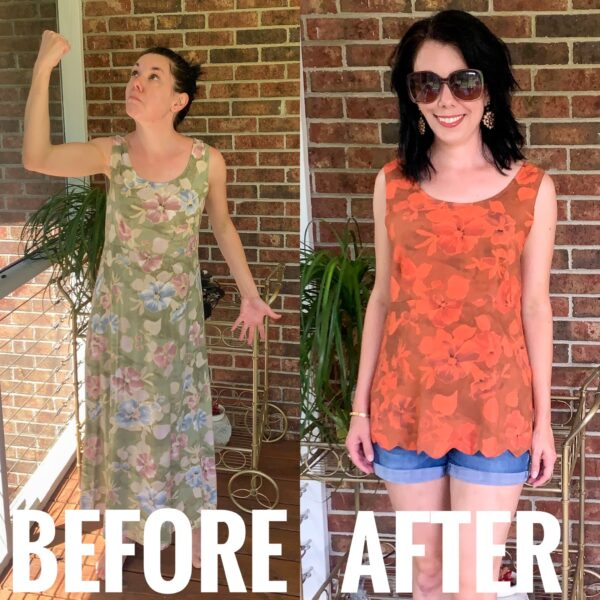 refashionista diy scalloped hem before and after