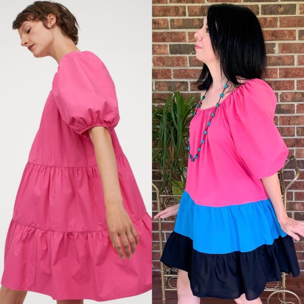 H&M dress next to refashioned dress