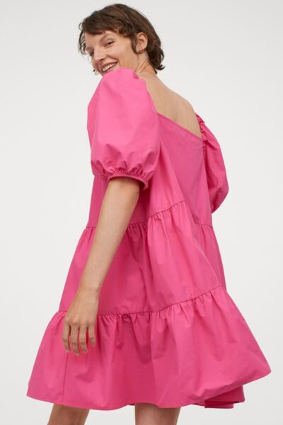 H&M Pink Puff Sleeved Dress