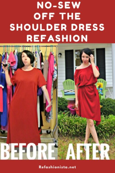 An Off-the-Shoulder No-Sew Dress Refashion! 5