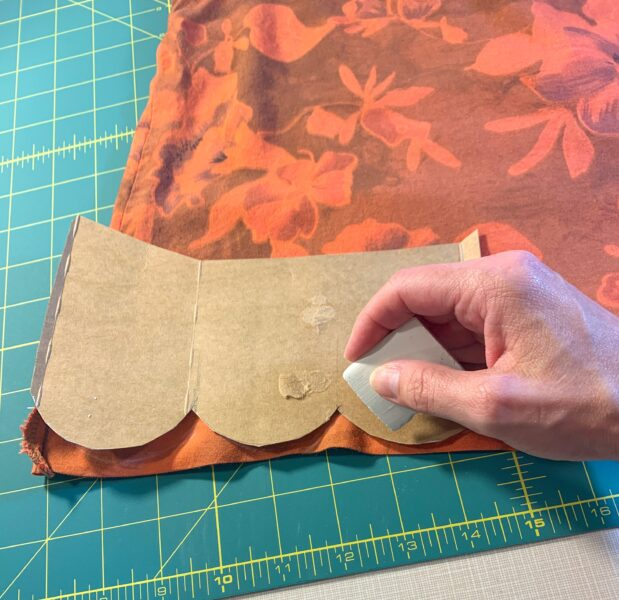 tracing scallops from template onto top