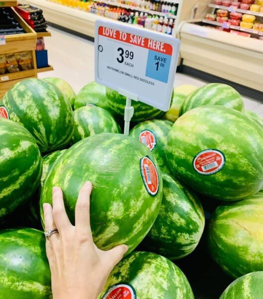 bin of small watermelons