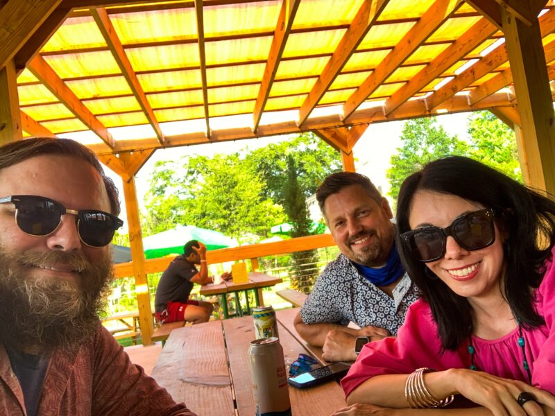 refashionista with husband and friend