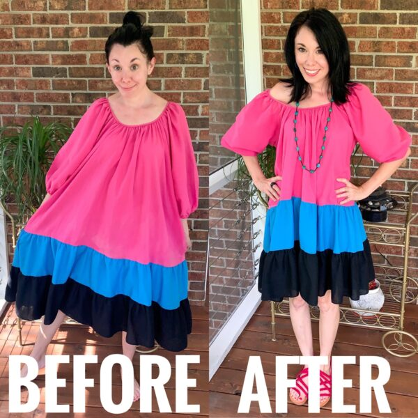 refashionista H&M Puff-Sleeved Dress Inspired Refashion before and after