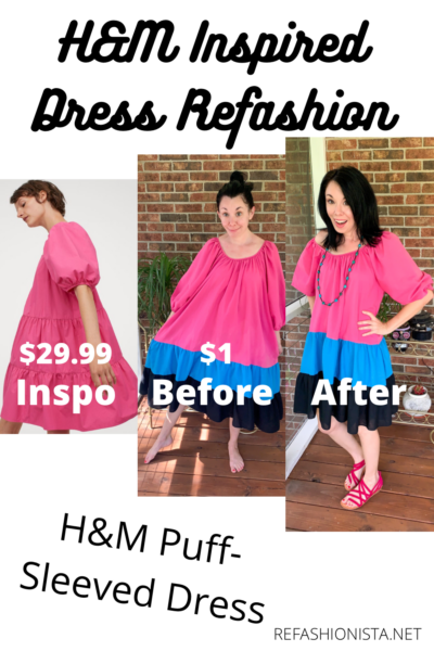 H&M Puff-Sleeved Dress Inspired Refashion 4