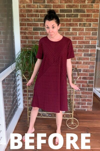 No-Sew Dress to Reverse Triangle Bottom Shirt 7