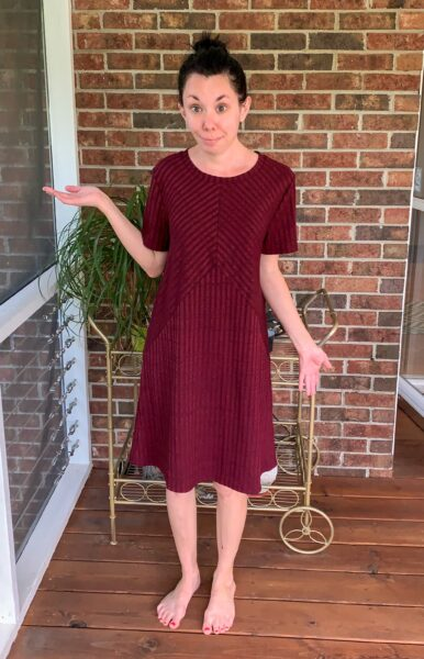 Refashionista No-Sew Dress to Reverse Triangle Bottom Shirt Before