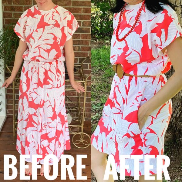 refashioista how to add pockets to a dress before and after