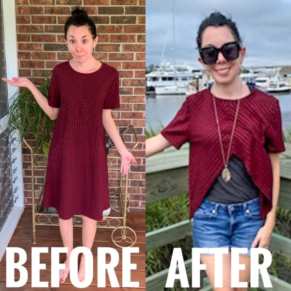 refashionista No-Sew Dress to Reverse Triangle Bottom Shirt before and after