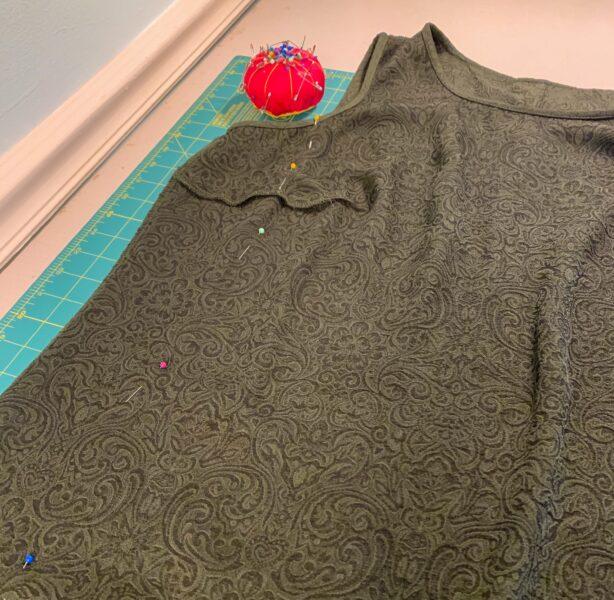 pinned side of dress