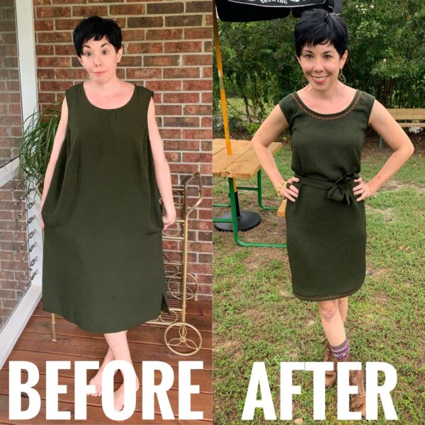 refashionista Fall-ing for Decorative Stitching before and after