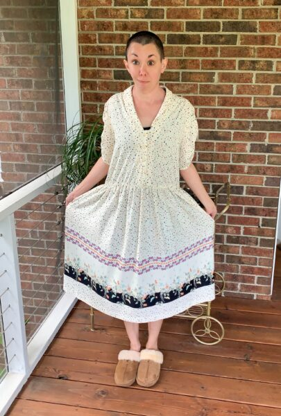 refashionista high low hem dress refashion before