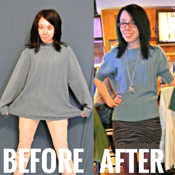 Sweater Refashion before and after