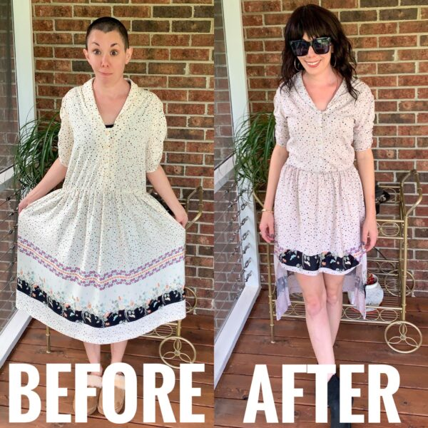 refashionista high low hem dress before and after