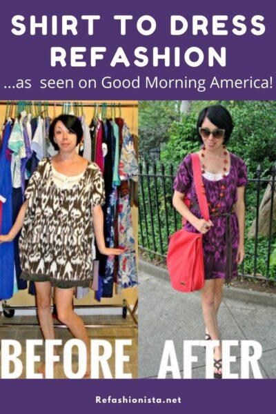 Shirt to Dress Refashion: As Seen on Good Morning America! 7