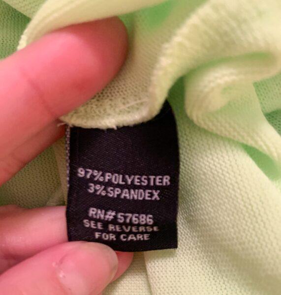 polyester/spandex blend label