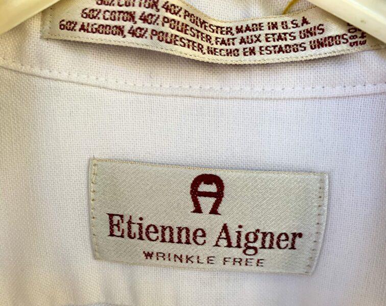 close up of Aigner label