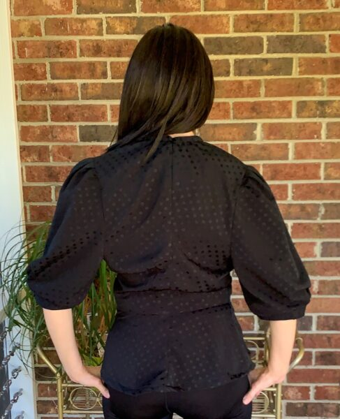 back of puff sleeve dress refashion